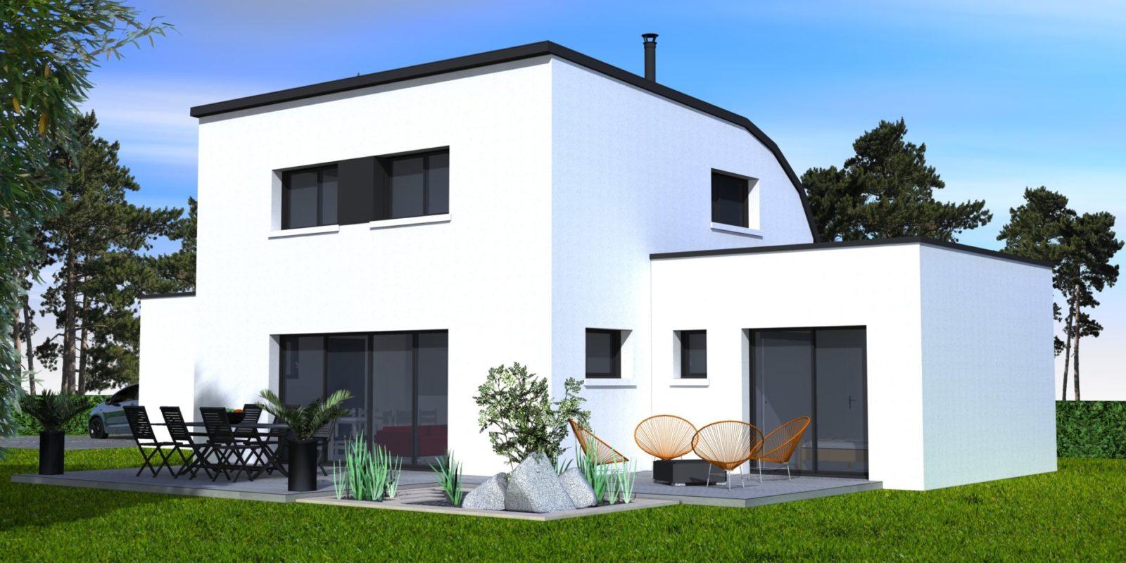 Maison contemporaine toiture cintrée – Sérent